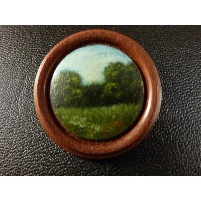 Historická dřevěná brož - ručně malováno
