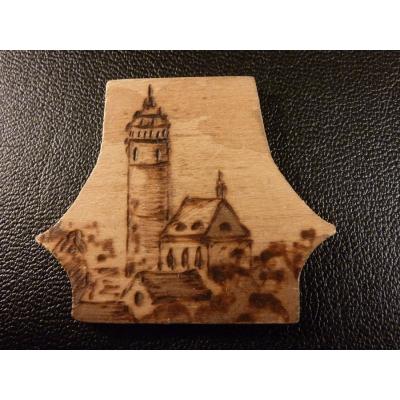 Dřevěná turistická známka Domažlice