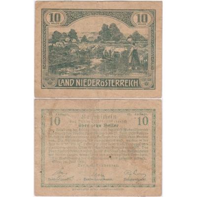 Rakousko - Notgeld Kassenschein 10 Haléřů 1920
