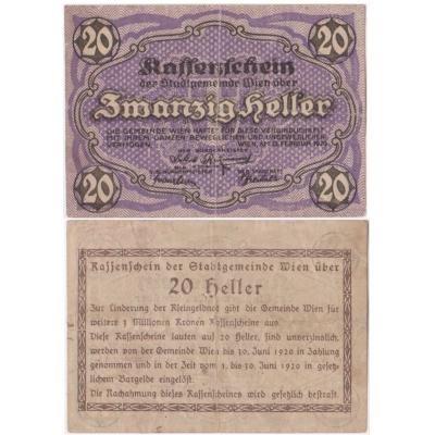 Rakousko - Notgeld Kassenschein 20 Haléřů 1920
