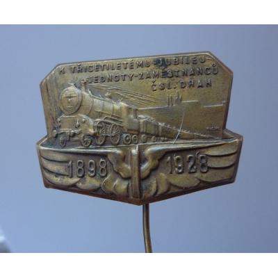 K třicetiletému jubileu jednoty zaměstnanců čs. drah 1928 odznak jehla