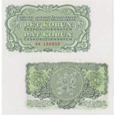 5 korun 1953 UNC, série KR