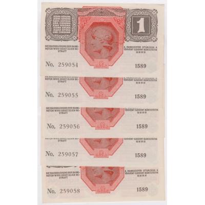 5x 1 koruna 1916, po sobě jdoucí sériová čísla