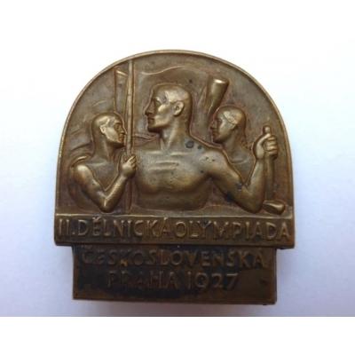 2. dělnícká olympiáda Československa 1927, odznak připínaci