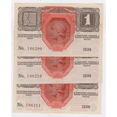 1 koruna 1906, 3x po sobě jdoucí číslovač