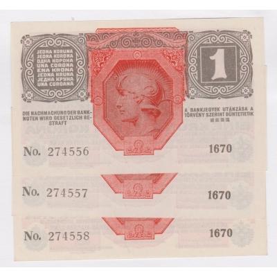 1 koruna 1916 UNC, 3x po sobě jdoucí číslovač