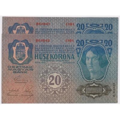 2 x 20 korun 1913, II. vydání, UNC, po sobě jdoucí číslovač