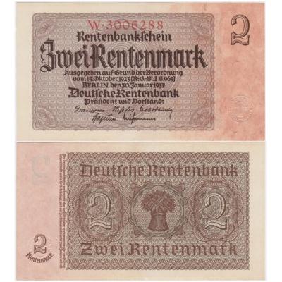 2 Rentenmark 1937, 7-místný číslovač