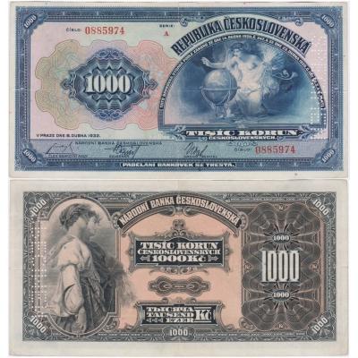 1000 korun 1932, svislý specimen