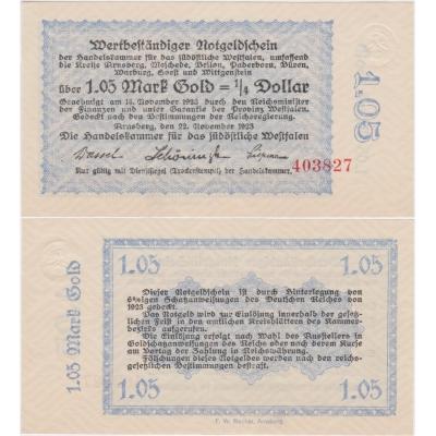 1,05 Goldmark 1923 Arnsberg UNC