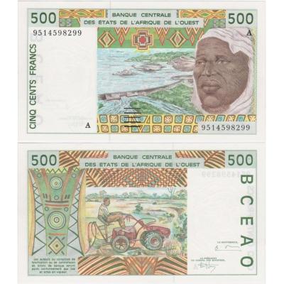 Západoafrické státy, 500 Francs 2002, A - Pobřeží slonoviny UNC