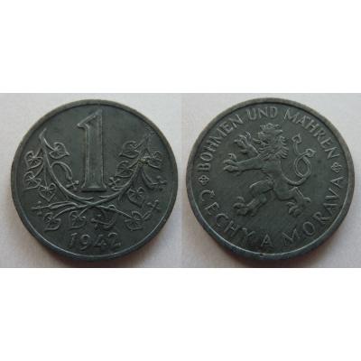 Protektorát Čechy a Morava - mince 1 koruna 1942