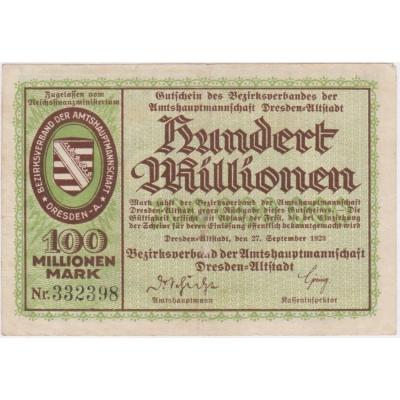 Německo - bankovka 100 Millionen Mark, 1923 Dresden-Altstadt