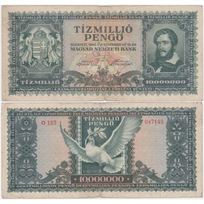 Maďarsko - bankovka 10 Miliónů Pengö 1945