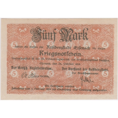 Německo - bankovka 5 Marek 1918 Eisenach UNC