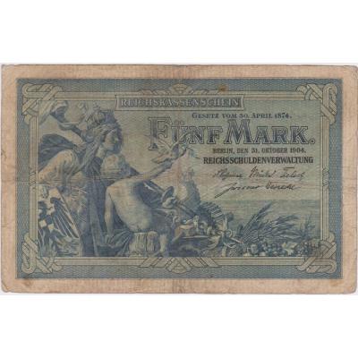 Německo - bankovka 5 marek 1904