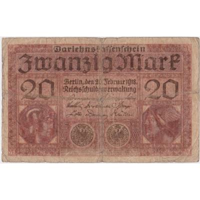Německo - bankovka Darlehnskassenschein 20 mark 1918