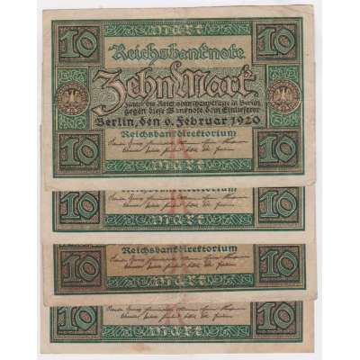 Německo - 4x bankovka 10 Marek 1920, série W, X, Y, Z
