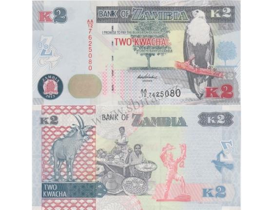 Zambie - bankovka 2 kwacha 2012 UNC