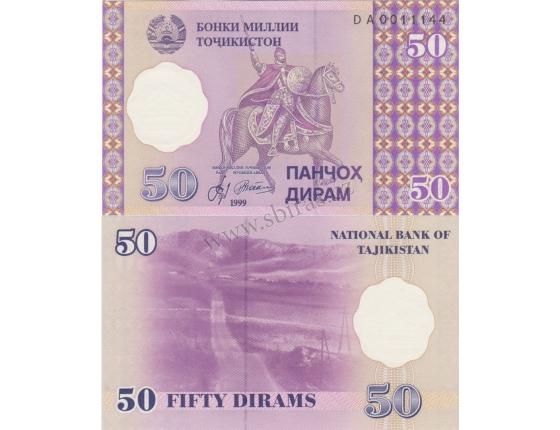 Tádžikistán - bankovka 50 dirams 1999 UNC
