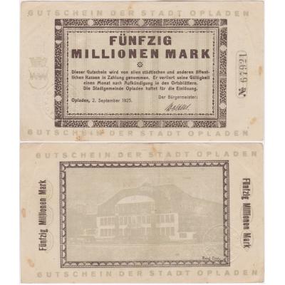 Německo - bankovka 50 millionen mark 1925 Opladen