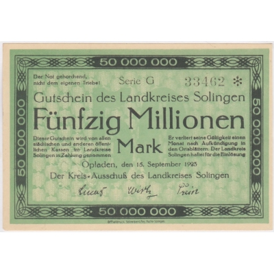 Německo - bankovka 50 millionen mark 1923 G Opladen UNC