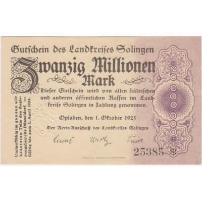 Německo - bankovka 20 millionen mark 1923 Opladen UNC