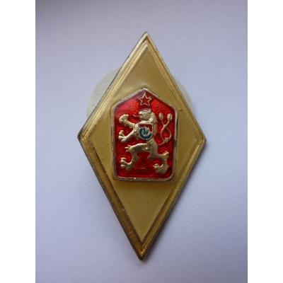 Stříbrný odznak absolventa vojenské akademie, puncovaný originál
