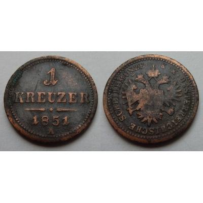 František Josef I. - mince 1 krejcar 1851