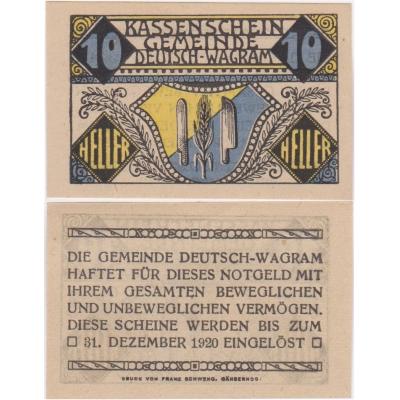 Rakousko - Notgeld 10 Haléřů Deutsch-Wagram 1920 UNC
