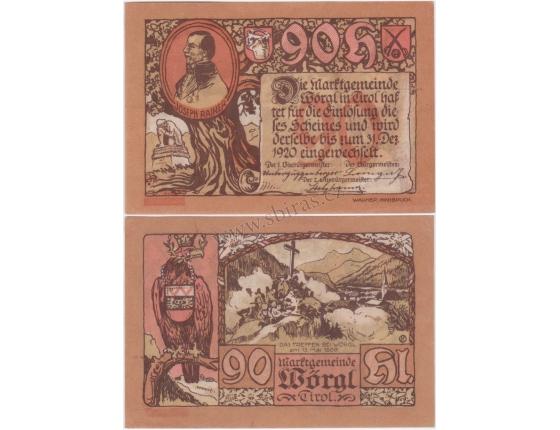 Rakousko - Notgeld 90 Haléřů Wörgl Tirol aUNC