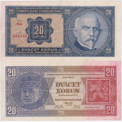 20 korun 1926 neperforovaná, série Ge