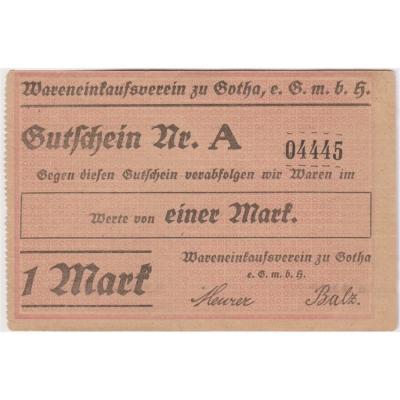 Německé císařství - bankovka 1 Mark 1914 Gotha UNC