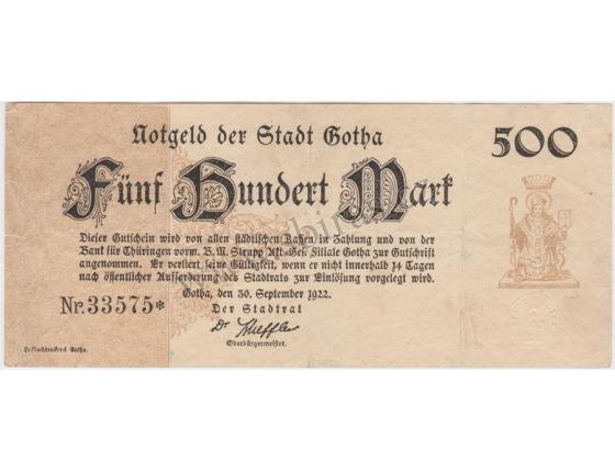 Německo - bankovka 500 marek 1922 Gotha