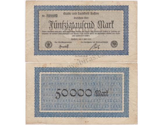 Německo - bankovka 50000 Mark 1923 Aachen
