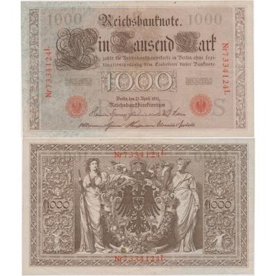 Německo - bankovka Reichsbanknote 1000 marek 1910, červené pečetě