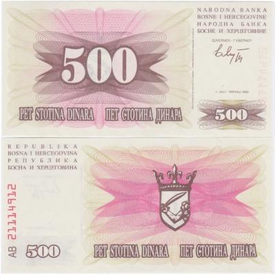 Bosna a Hercegovina - bankovka 500 Dinara 1992 UNC