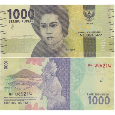 Indonésie - bankovka 1000 rupiah 2016 UNC