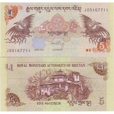 Bhútán - bankovka 5 Ngultrum 2011 UNC
