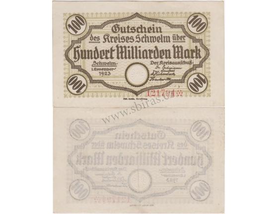 Německo - bankovka 100 Milliarden Mark 1923 Schwelm