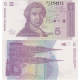 Chorvatsko - bankovka 5 Dinara 1991 UNC