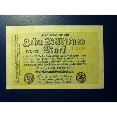 Reichsbanknote 10 milionů marek 1923