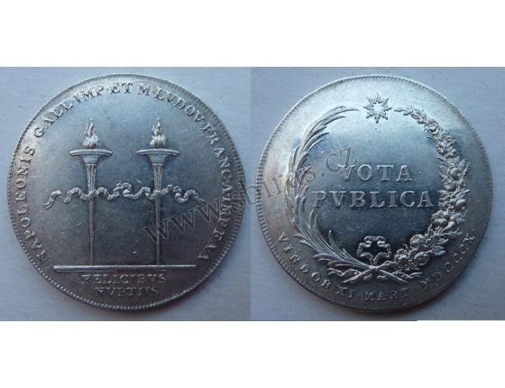 Stříbrný žeton ke svatbě Napoleona I. Bonaparta a Marie Luisy