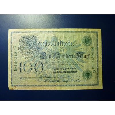 Německé císařství - bankovka Reichsbanknote 100 marek 1908