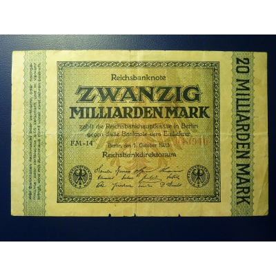Reichsbanknote 20 Miliarden Mark 1923
