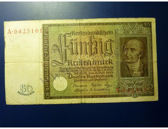 50 Rentenmark 6.7.1934 serie A, platná na čs. území
