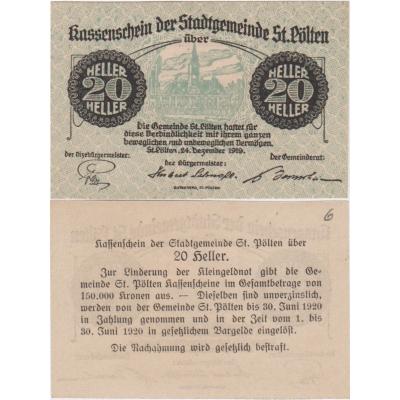 Rakousko - Notgeld Kassenschein 20 Haléřů 1919 aUNC