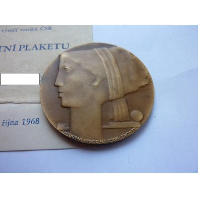 Tschechoslowakei - 50. Jahrestag der Gründung der Tschechoslowakei, eine Medaille mit der Widmung der Nationalen Front