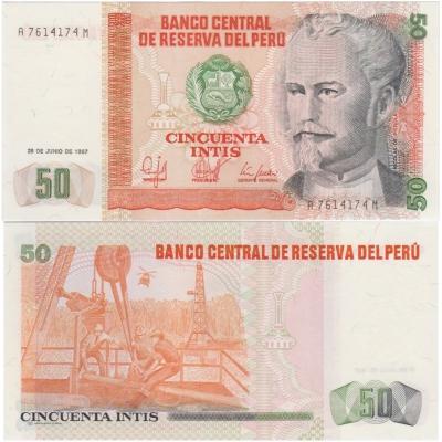 Peru - bankovka 50 intis 1987 UNC