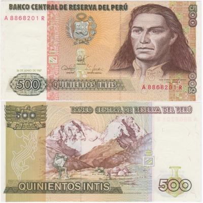 Peru - bankovka 500 intis 1987 UNC